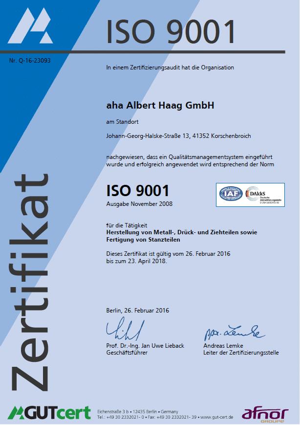 Iso-9001-zertifikat metalldrückerei